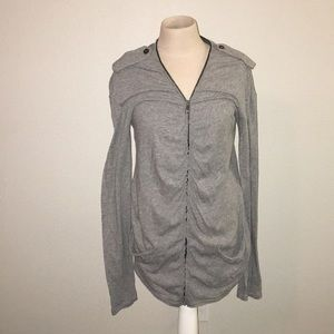 Burberry Brit Gray Ruched Zippered Sweater